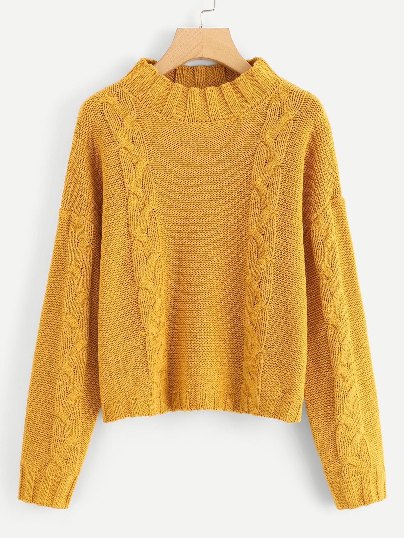 Купить Твердый плечевой свитер, null, SheIn
