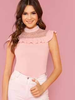 Pearl Beaded Dobby Mesh Yoke Ruffle Top