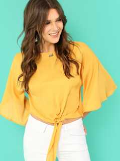 Knot Front Flounce Sleeve Top