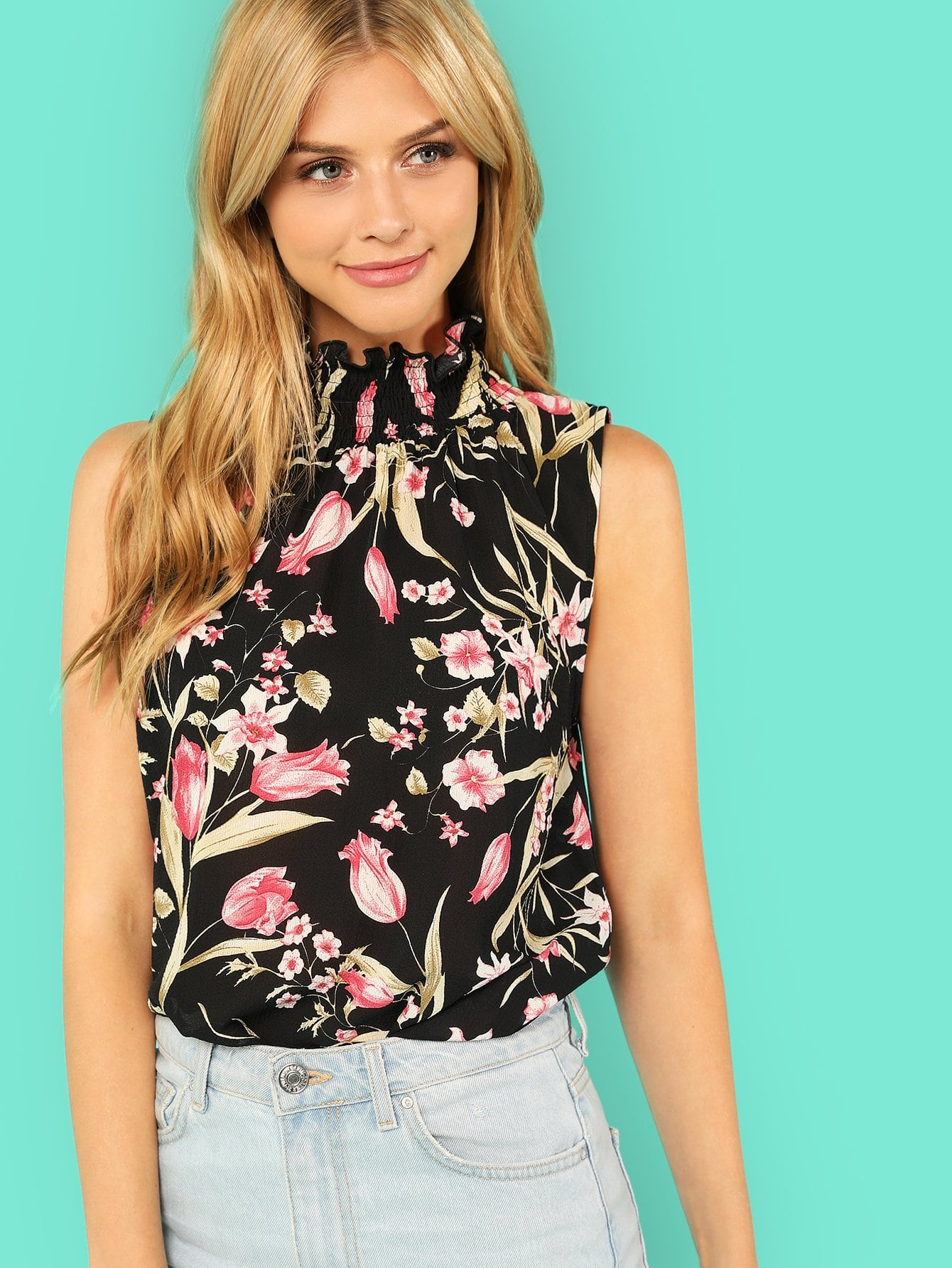 Neck Smocked Floral Sleeveless Top smocked floral cami top