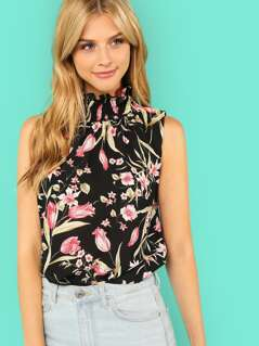 Neck Smocked Floral Sleeveless Top