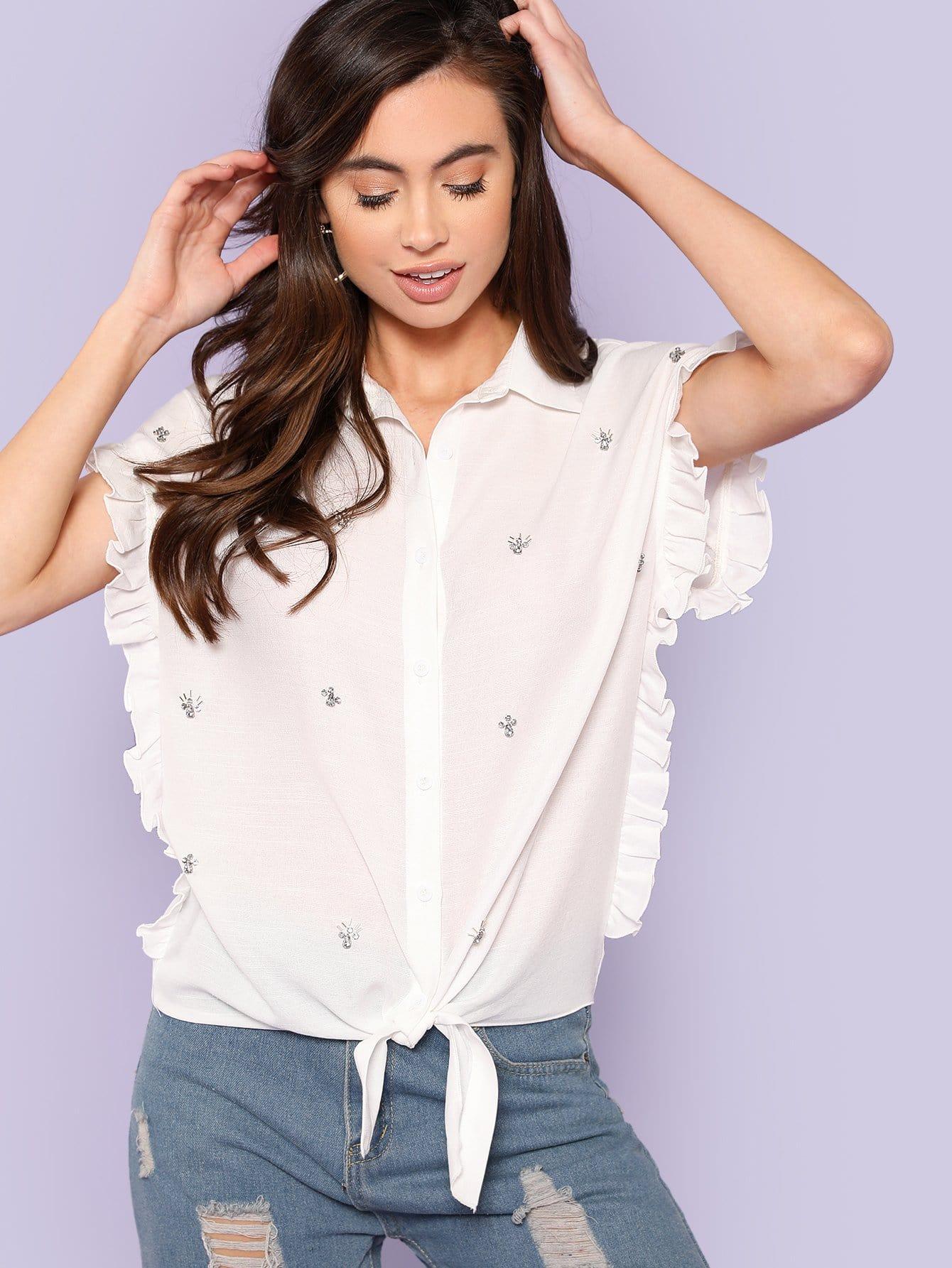 Rhinestone Detail Frill Trim Knot Hem Shirt frill trim shirt