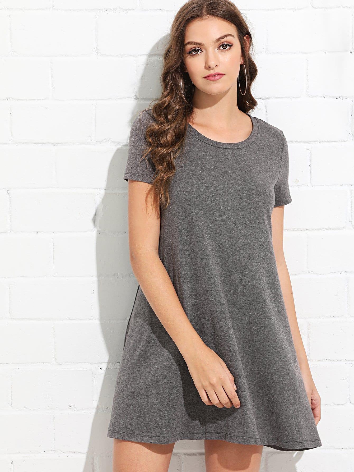 Short Sleeve Solid Swing Dress long sleeve solid swing dress