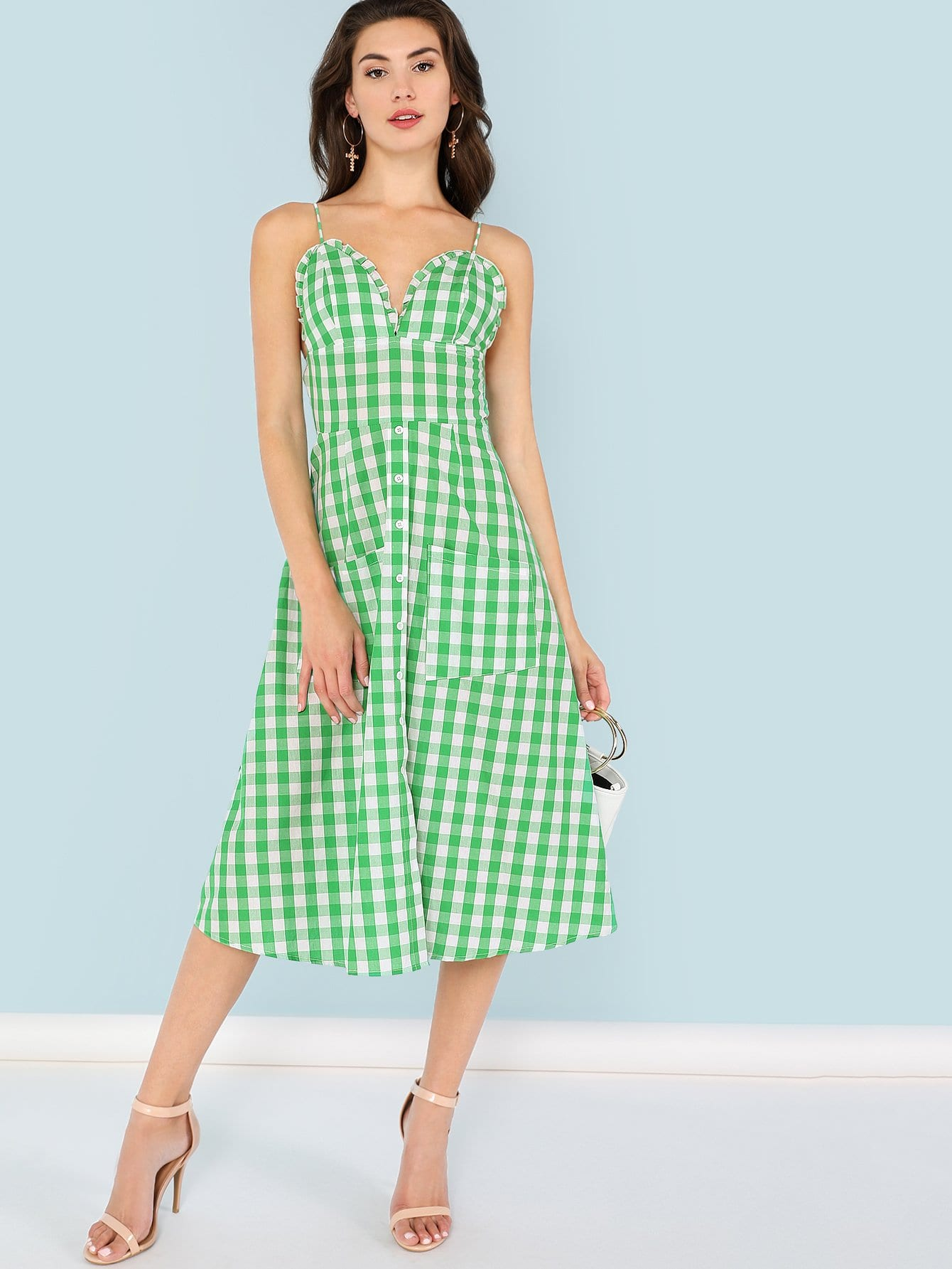 Pocket Patched Frill Detail Plaid Cami Dress pocket patched plaid curved hem shirt dress