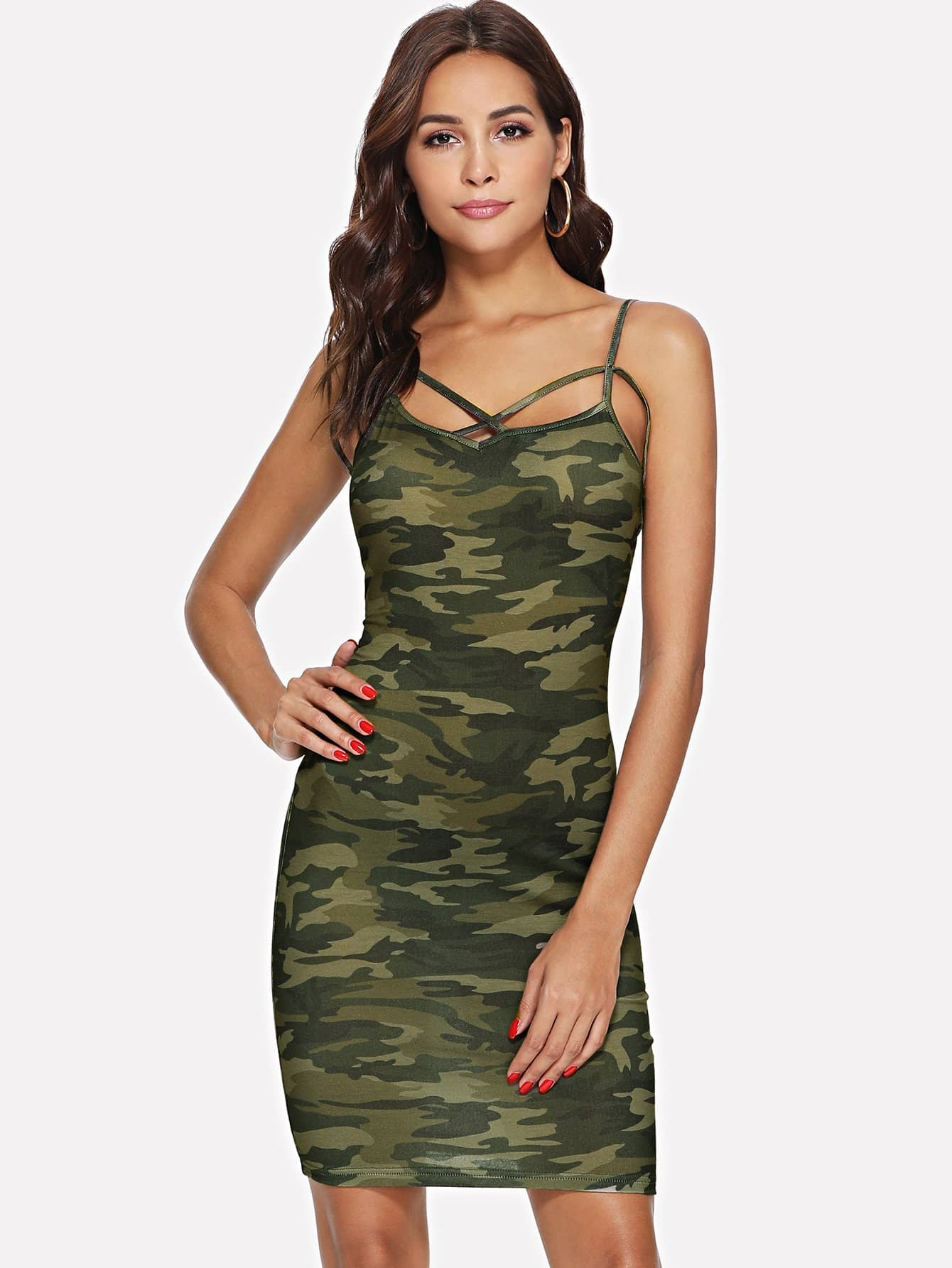 Crisscross Neck Form Fitting Camo Print Dress camo print night dress