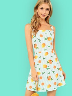 Lemon and Striped Print Dress with Ruffle Strap