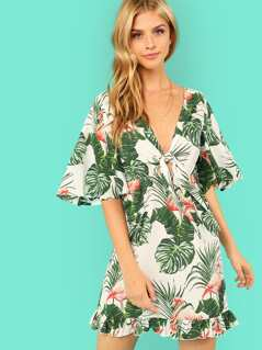 Frilled Trim Jungle Print Bardot Dress