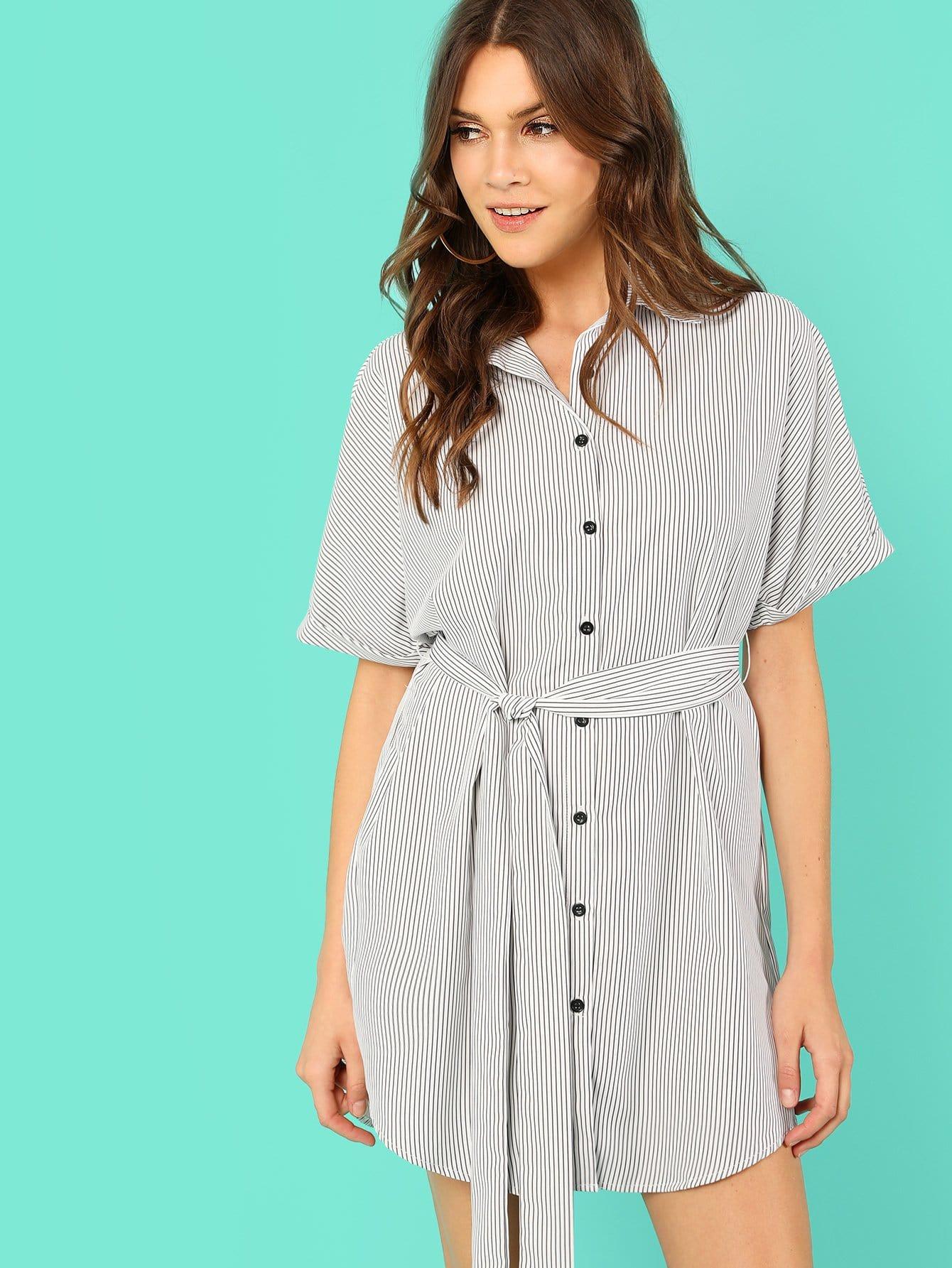Pinstripe Button Up Shirt Dress batwing sleeve pinstripe shirt dress