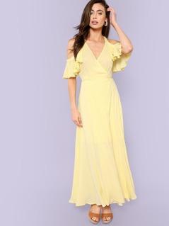 Ruffle Trim Tie Waist Wrap Halter Dress