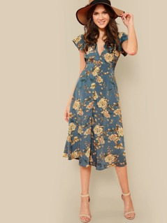 Plunging Neck Knot Back Floral Dress