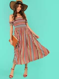 Shirred Panel Lettuce Trim Striped Bardot Dress