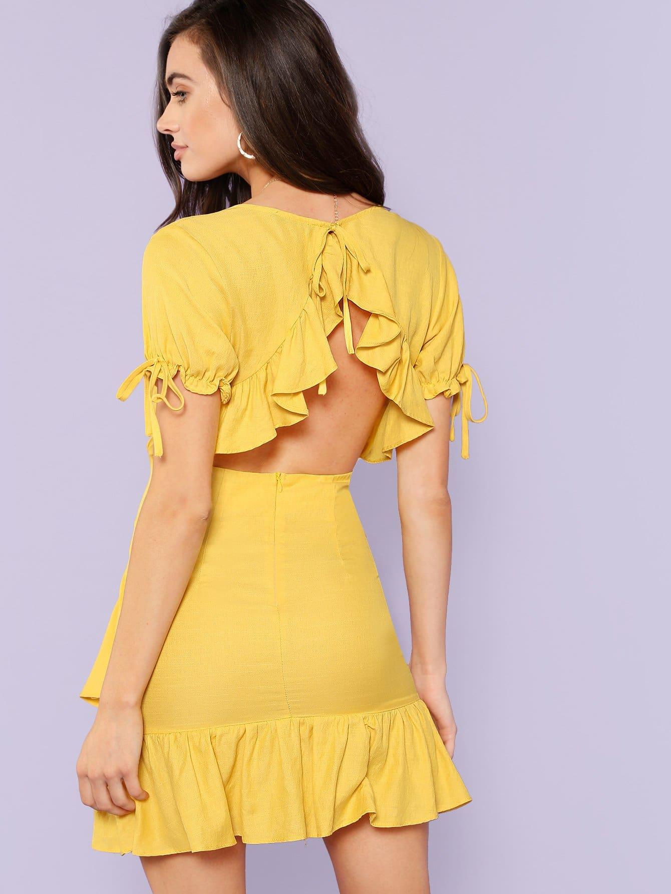 Knot Detail Asymmetrical Ruffle Hem Wrap Dress asymmetrical hem faux pearl detail dress
