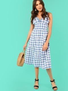 Button Up Frill Trim Pocket Plaid Dress