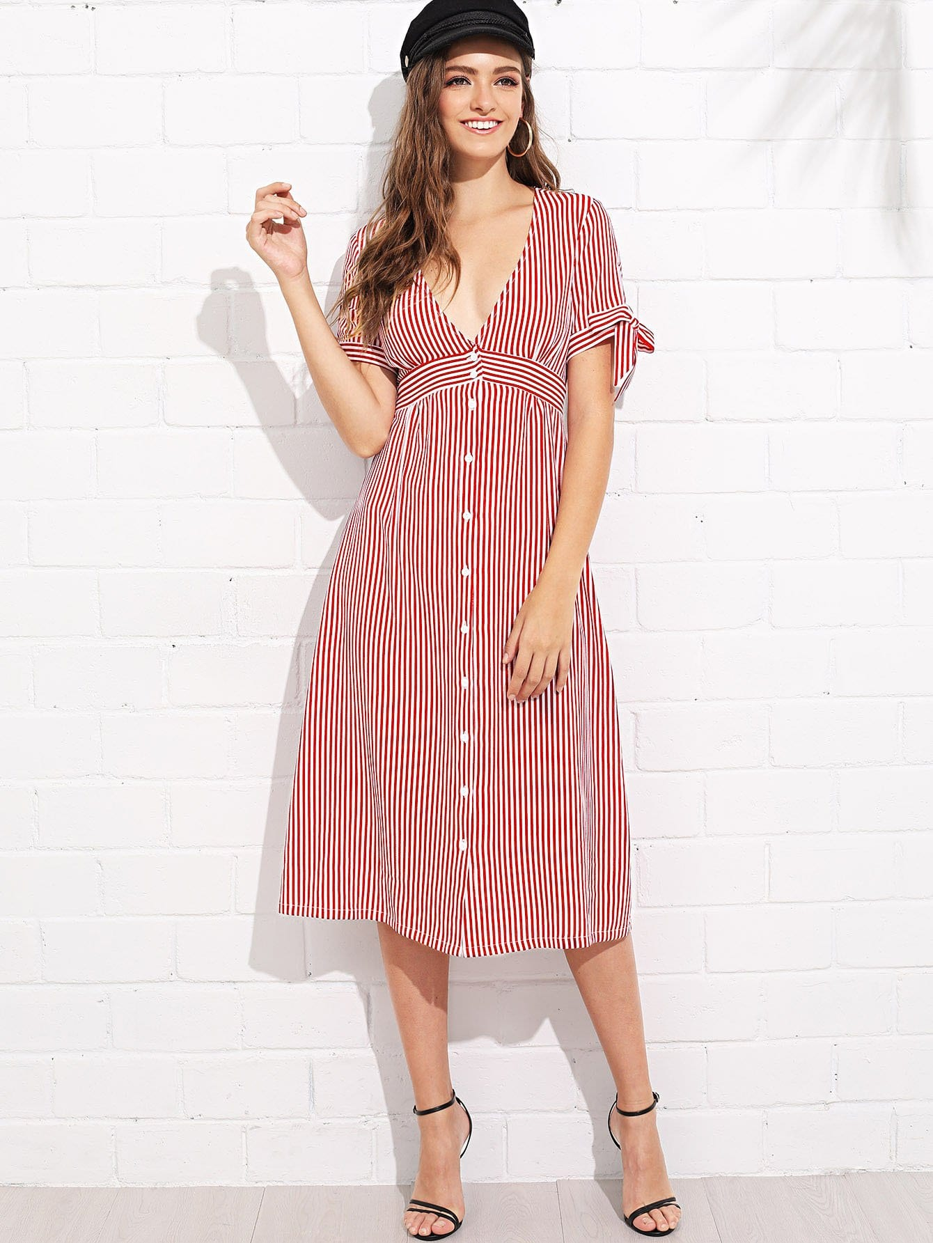 Plunging Neck Knot Cuff Striped Dress letter print neck and cuff striped dress