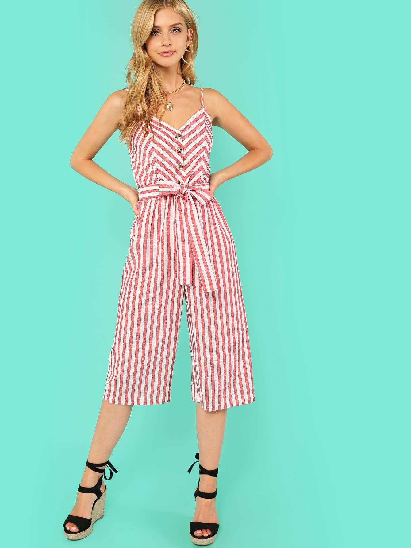Купить Комбинезон с пуговицами и широкими штанинами, Marina Laswick, SheIn