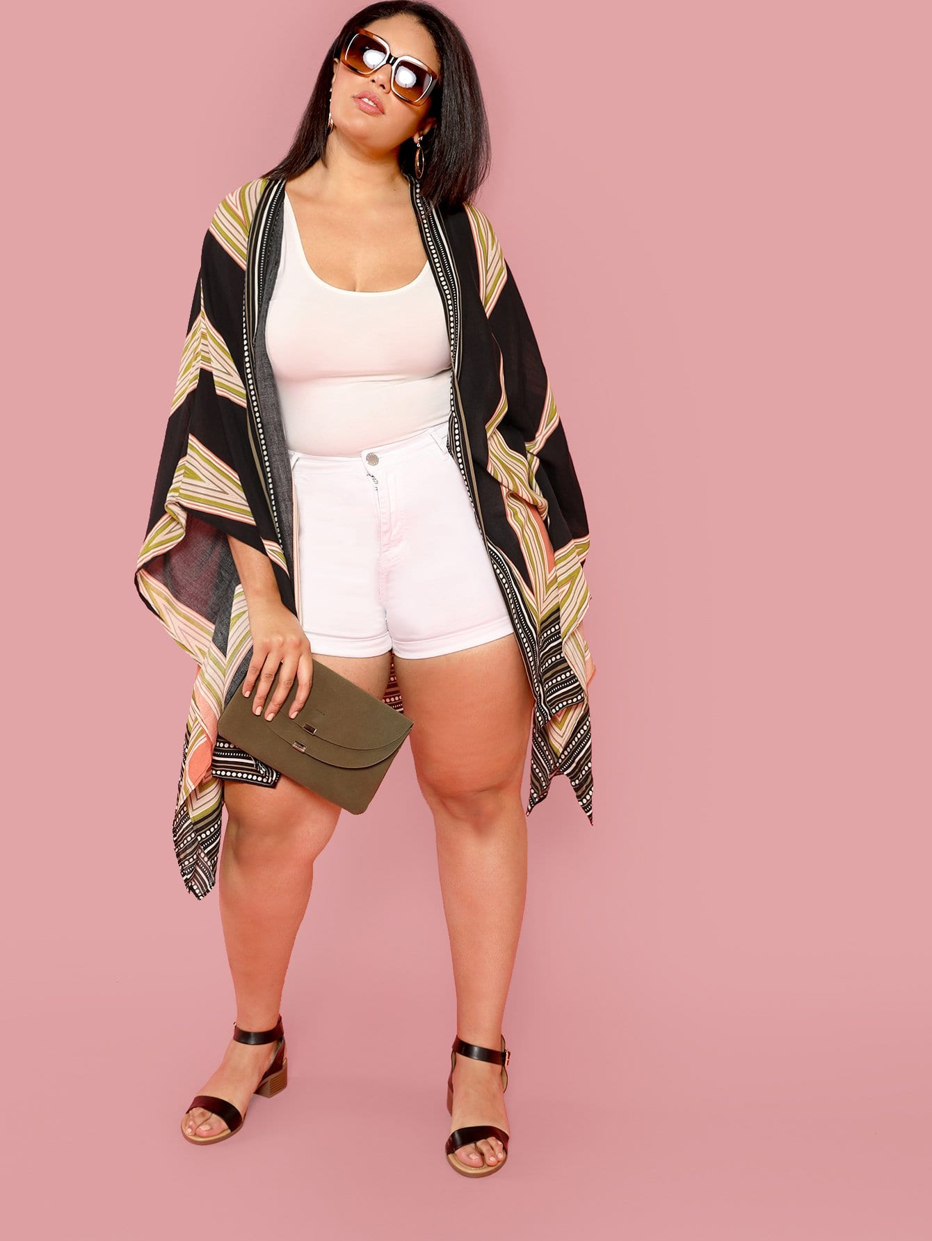 Купить Длинное кимоно с принтом геометрия, Ashourina Washington, SheIn