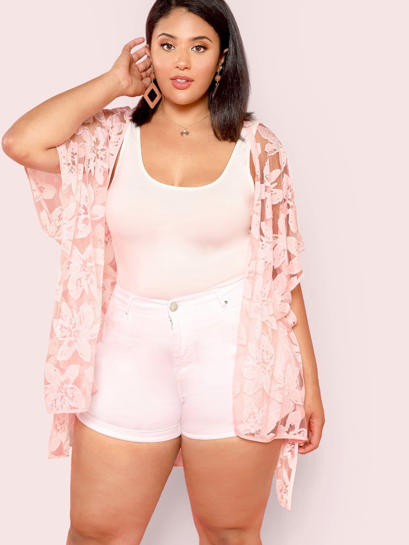 Купить Ассиметричное прозрачное кимоно с вышивкой, Ashourina Washington, SheIn