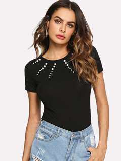 Pearl Beading Fitted T-shirt