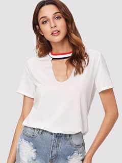Striped Choker Neck T-shirt