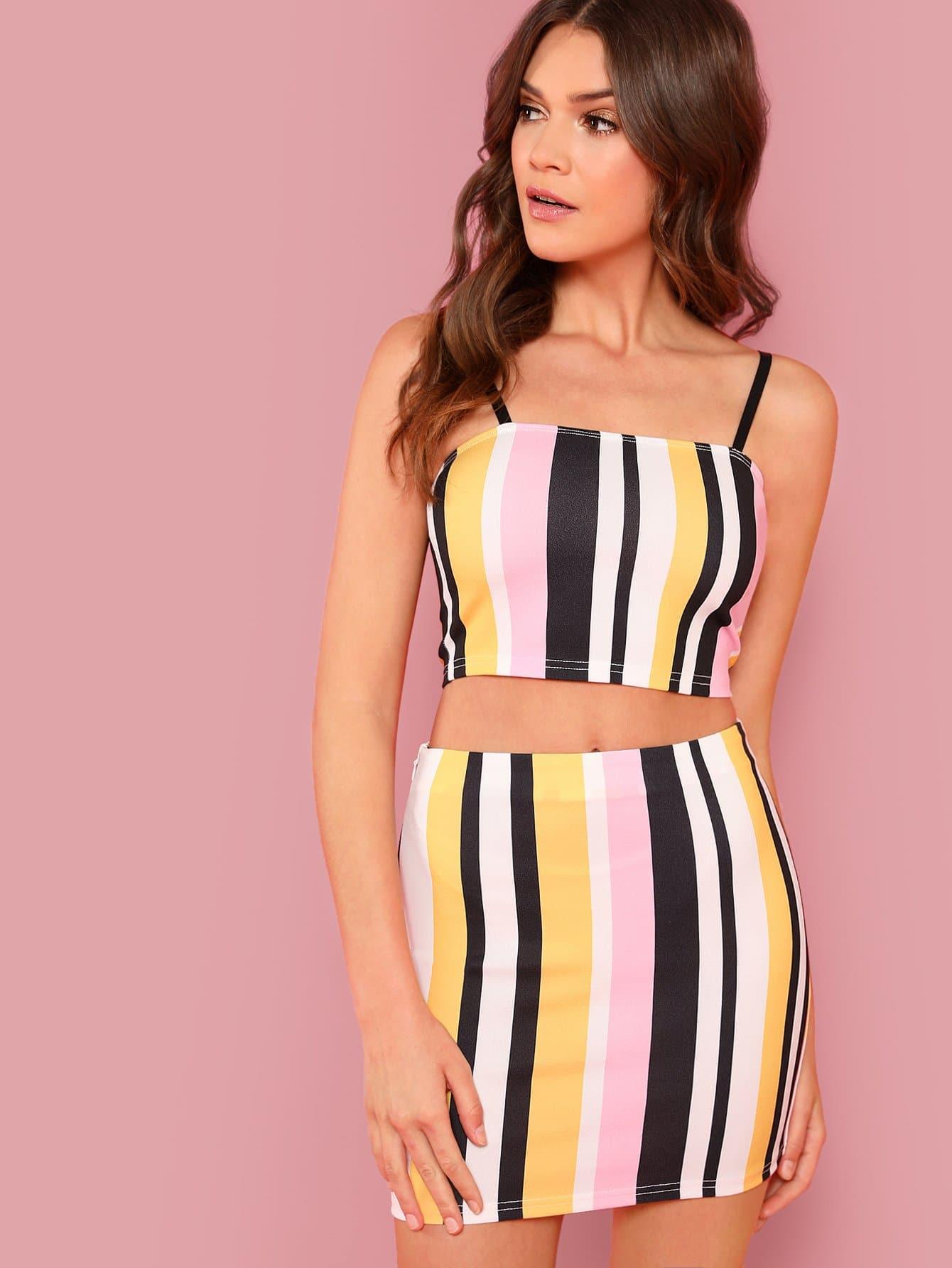 Striped Crop Cami Crop Top & Skirt Co-Ord black choker sleeveless crop top