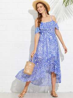 Abstract Print Flounce Cold Shoulder Dress