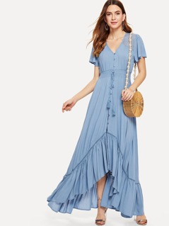 Shirred Waist Asymmetric Ruffle Hem Dress