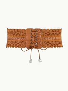 Ruffle Trim Lace Up Design Belt
