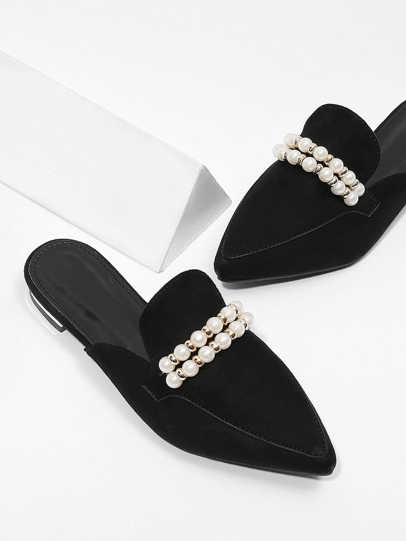Faux Pearl Decorated Pointed Toe Flats pointed toe faux leather flats