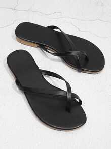 Criss Cross Toe Ring Flat Slippers