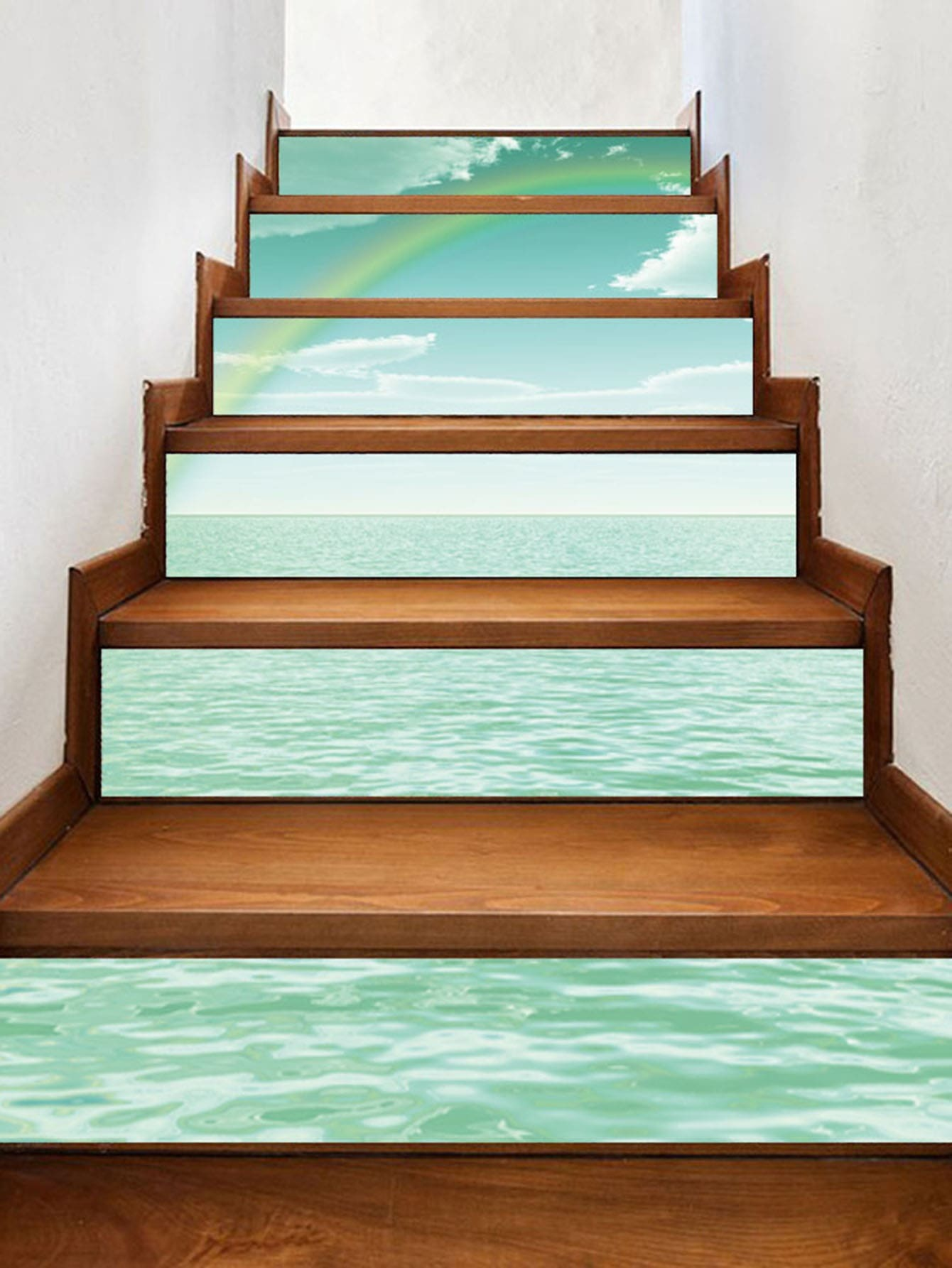 3D Sea Stairs Sticker 6pcs sea wave stairs sticker 6pcs