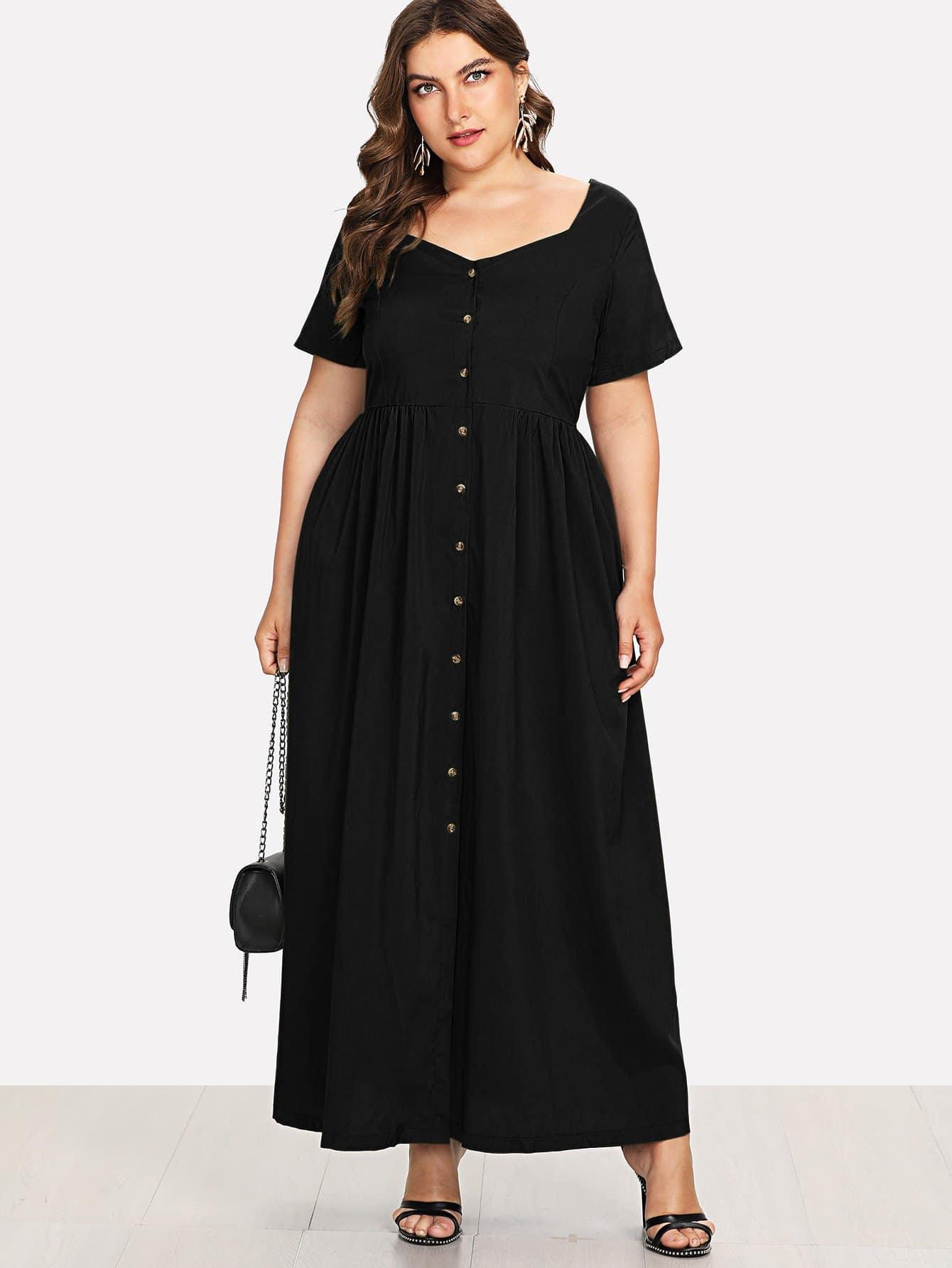 Plus Button Decoration Solid Dress