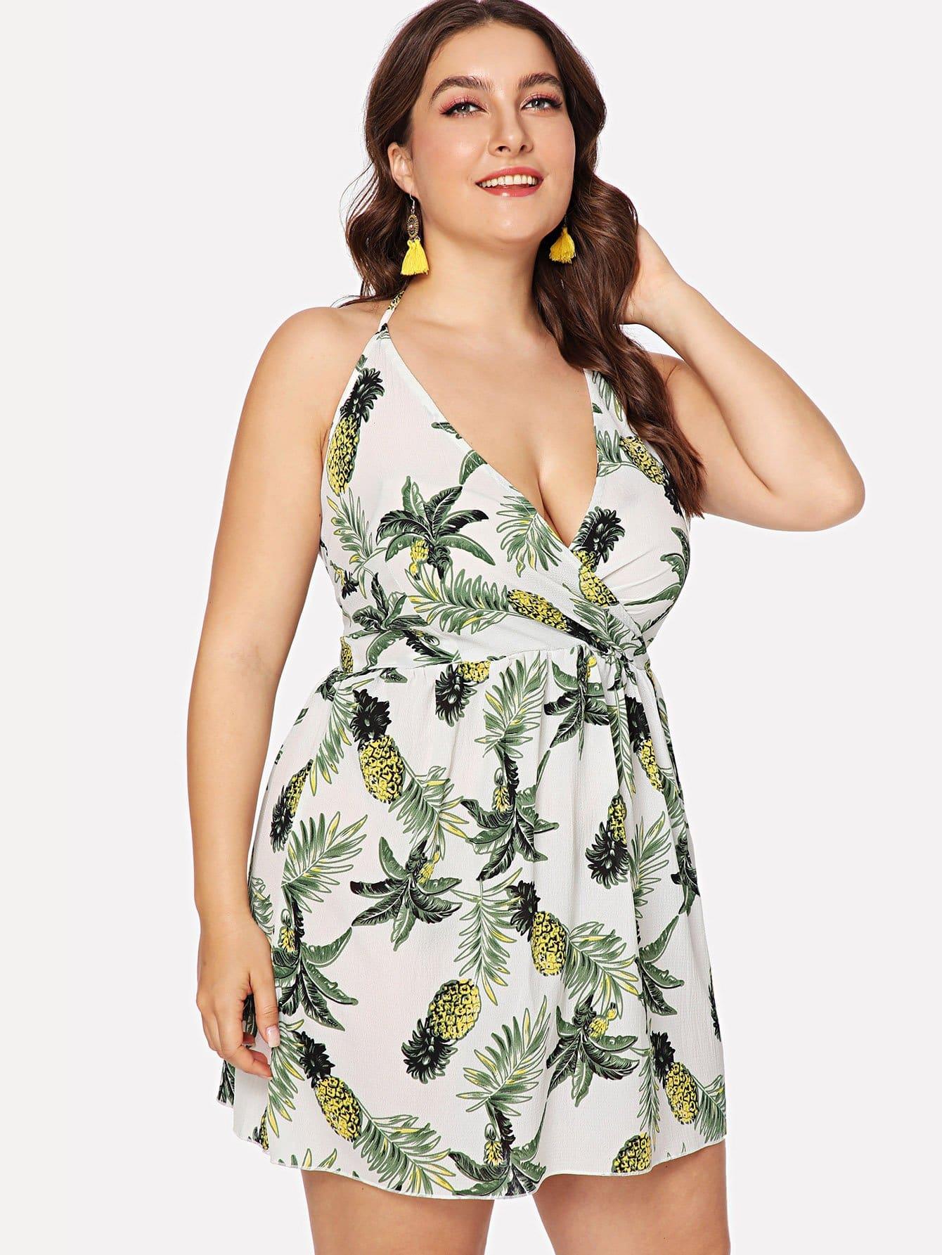 Купить Платье хальтер с принтом тропики, Franziska, SheIn