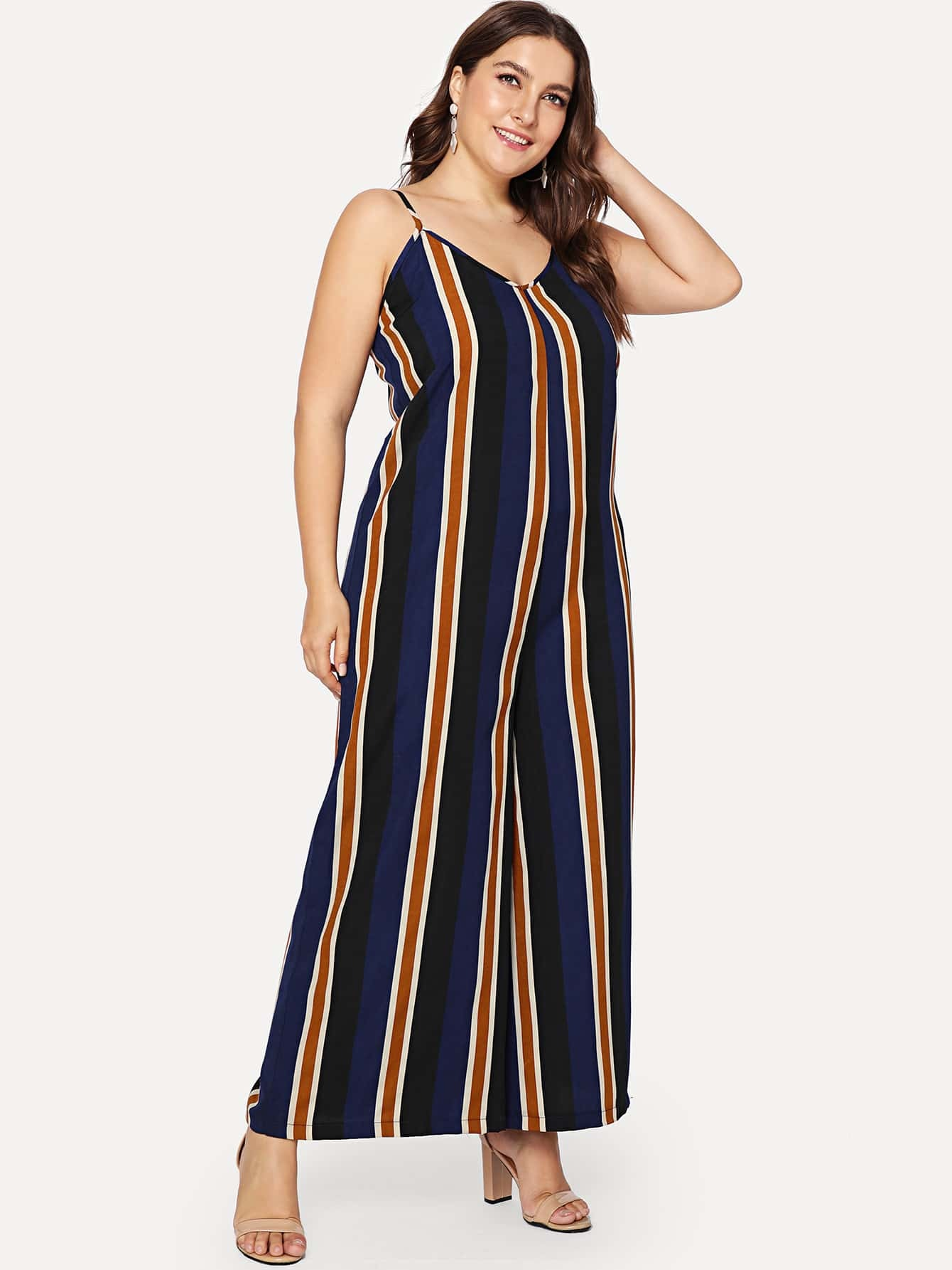 Striped Wide Leg Cami Jumpsuit shirred panel wide leg striped jumpsuit