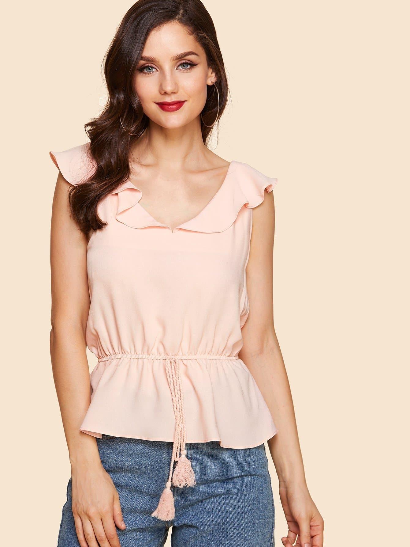 Ruffle Drawstring Waist Plain Blouse drawstring front ruffle plaid blouse
