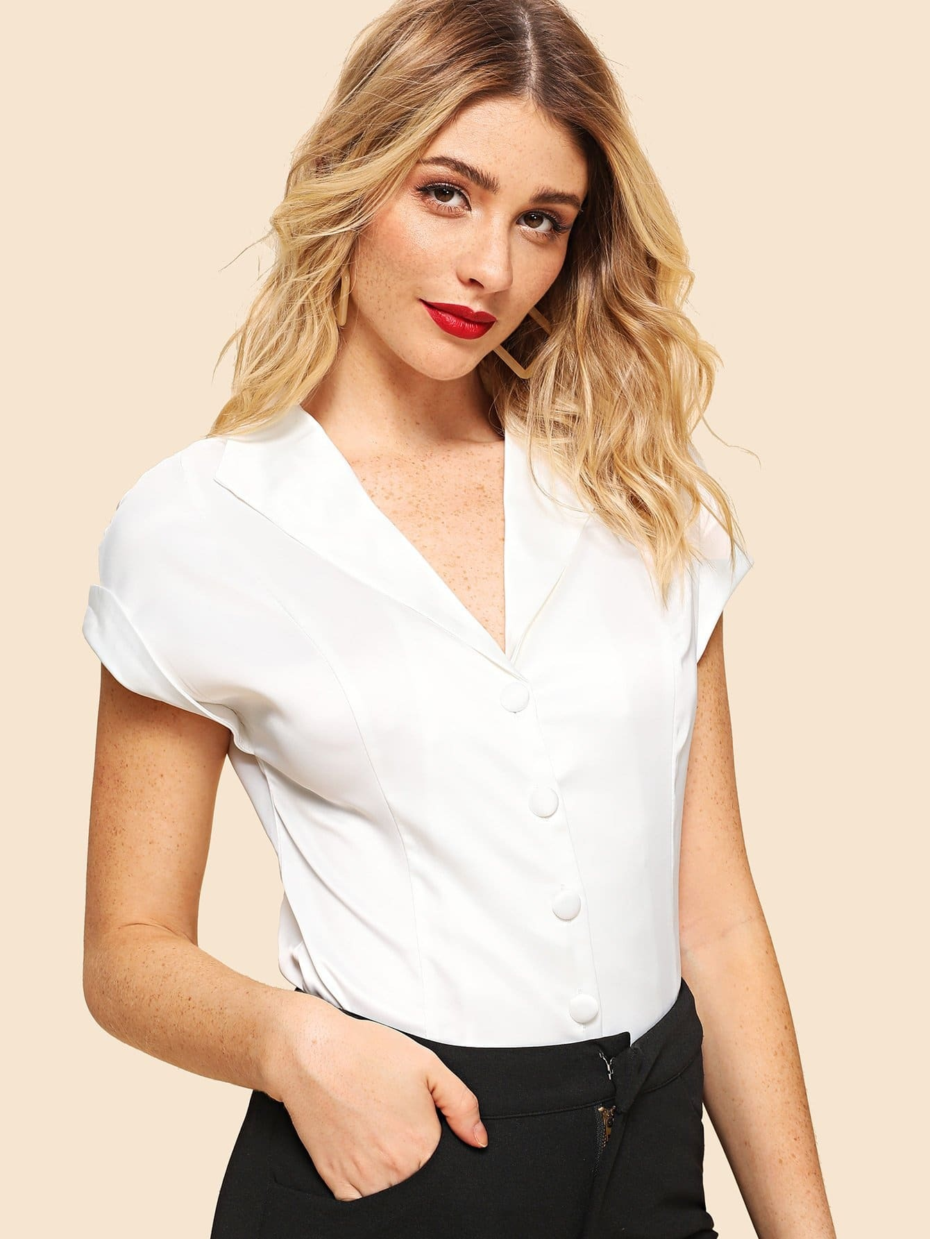 V Neck Roll Up Sleeve Blouse доро пеш frankfurt am main