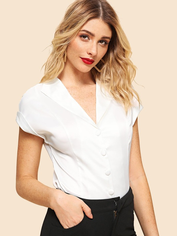 Cut And Sew Panel V Neck Blouse by Sheinside