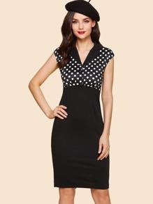 Polka Dot Slit Hem Contrast Dress