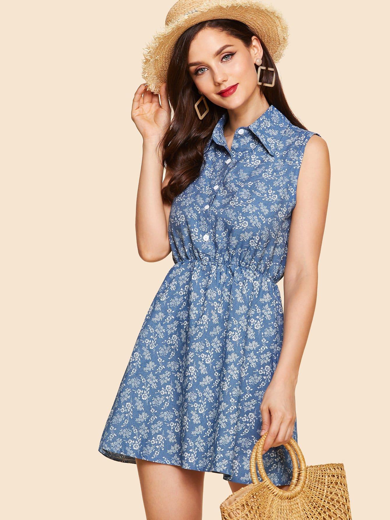 Calico Print Elastic Waist Denim Dress elastic waist button denim dress
