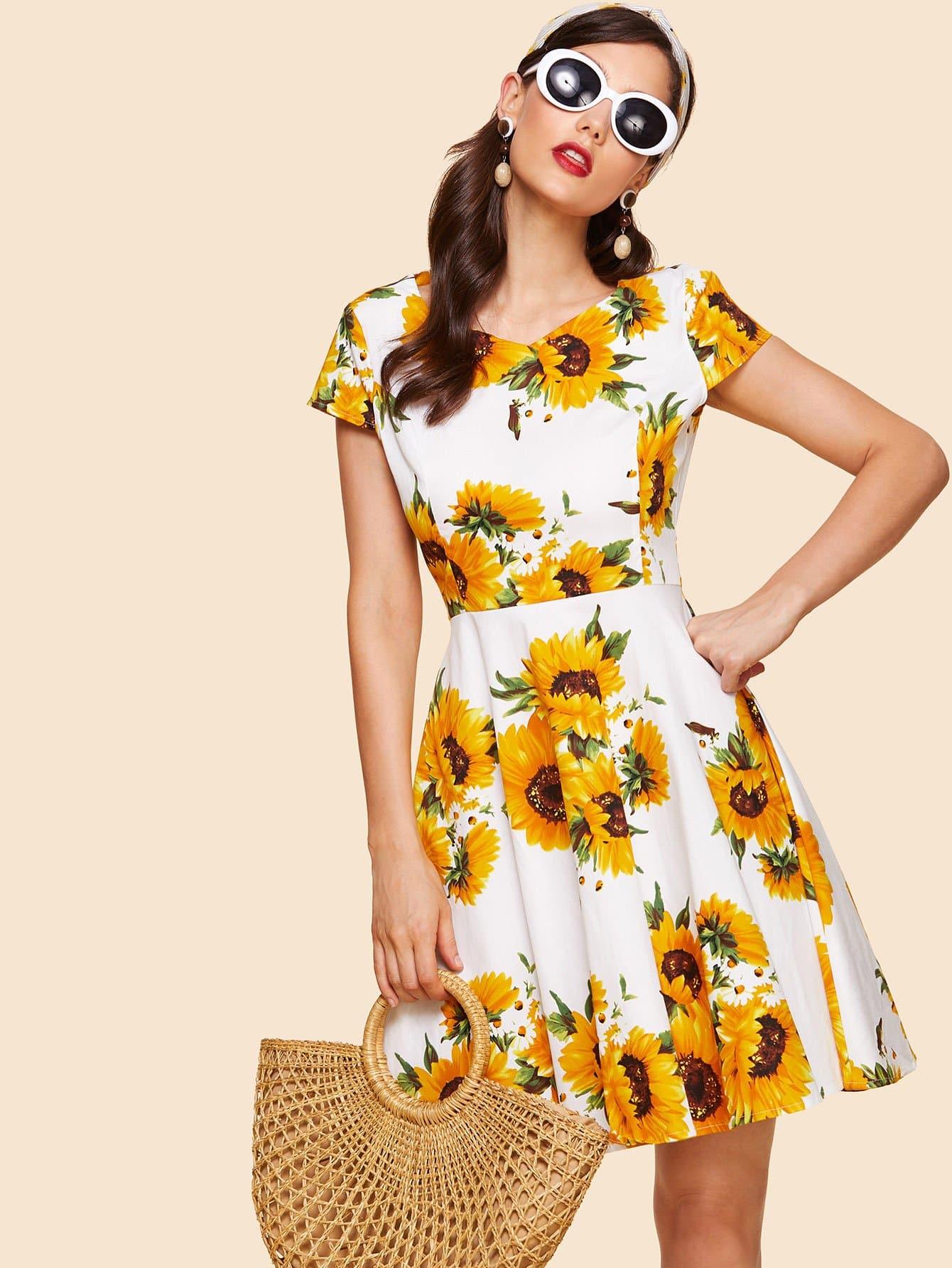Sun Flower Print Pleated Dress sun flower print pleated dress
