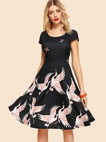 Crane Print Pleated Dress