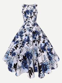 Deep V Neckline Floral Print Dress