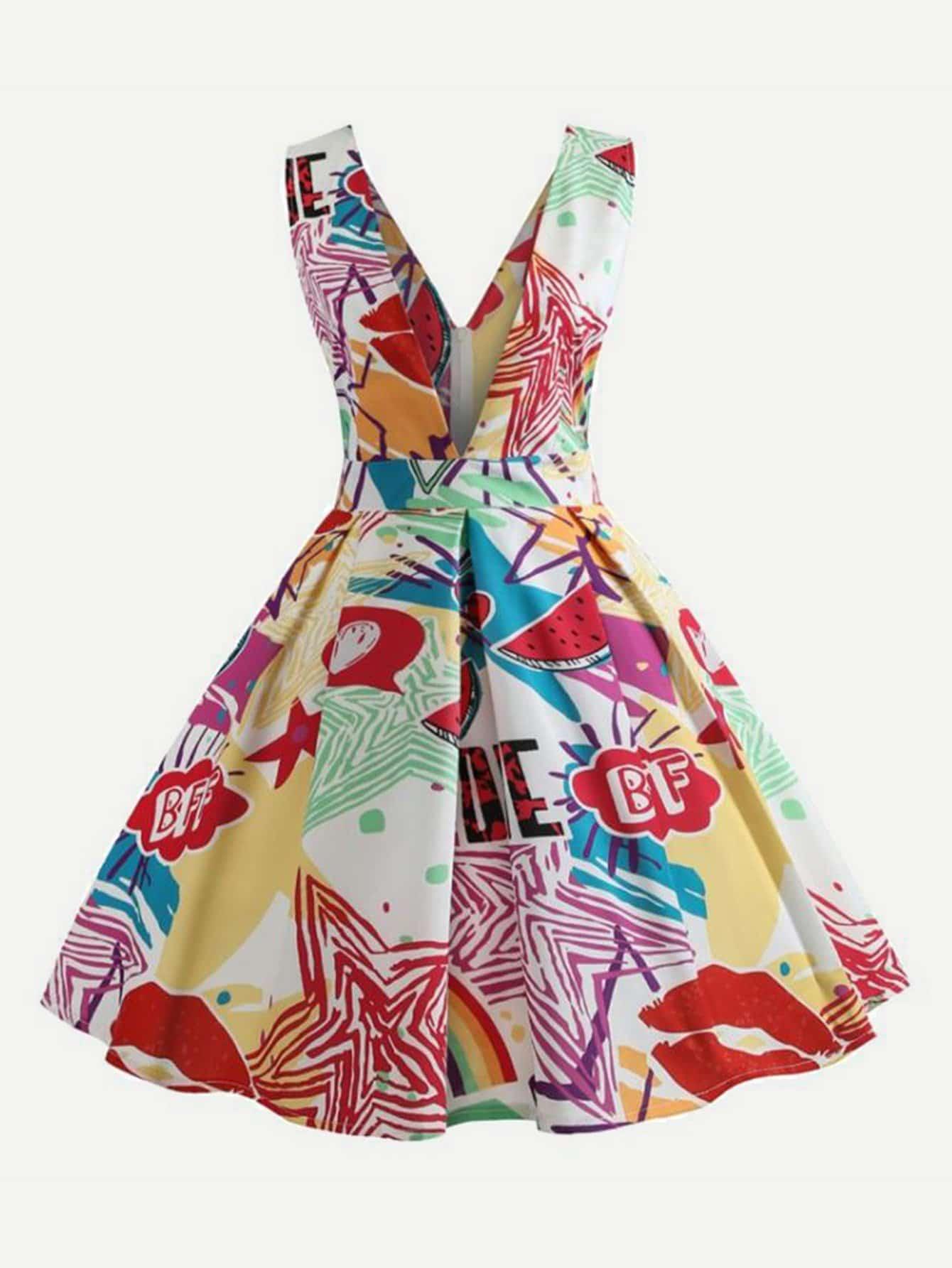 Geo Print Deep V Neck Dress tied neck geo print flare dress