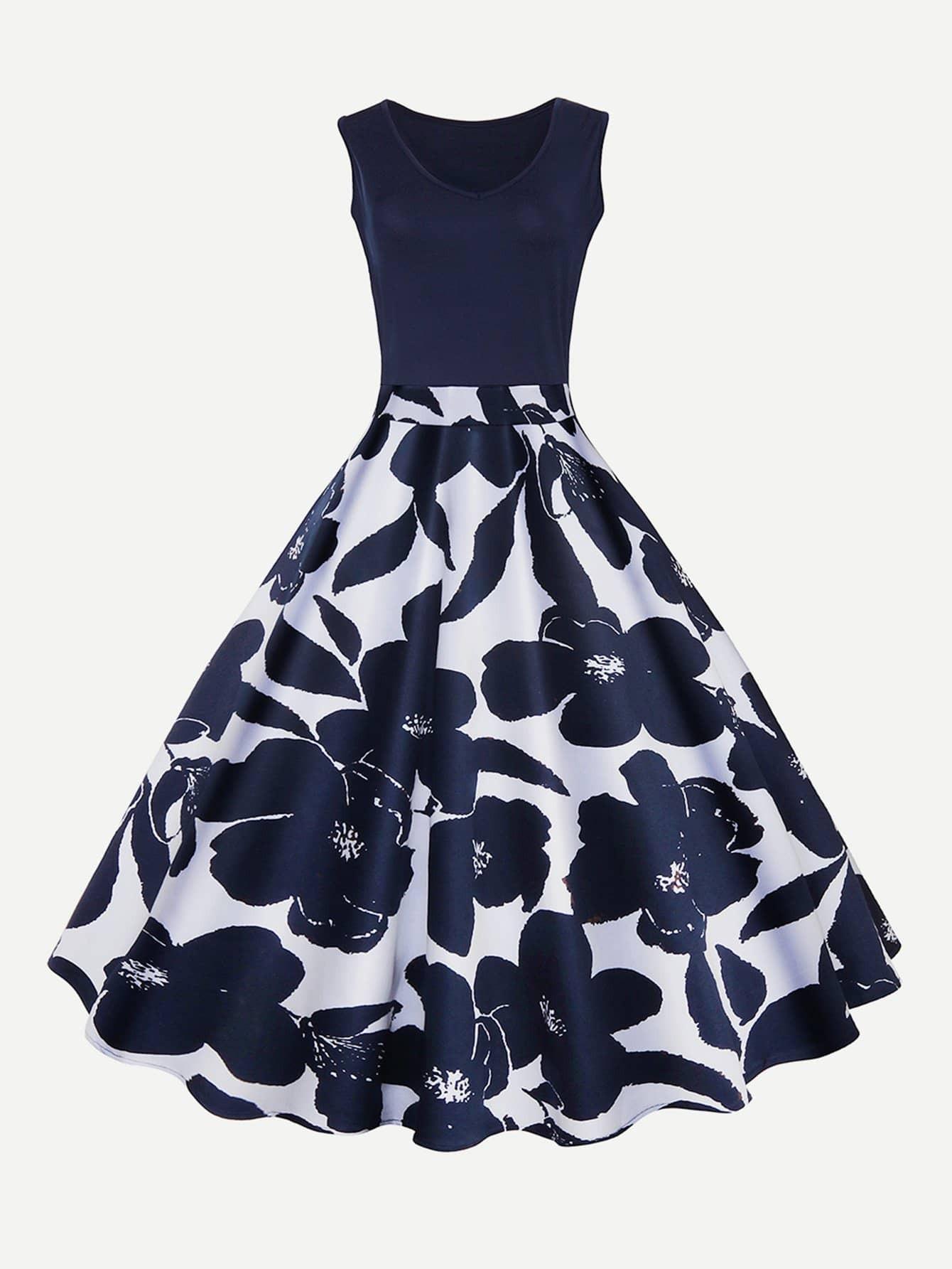 Платье из цветной печати, null, SheIn  - купить со скидкой