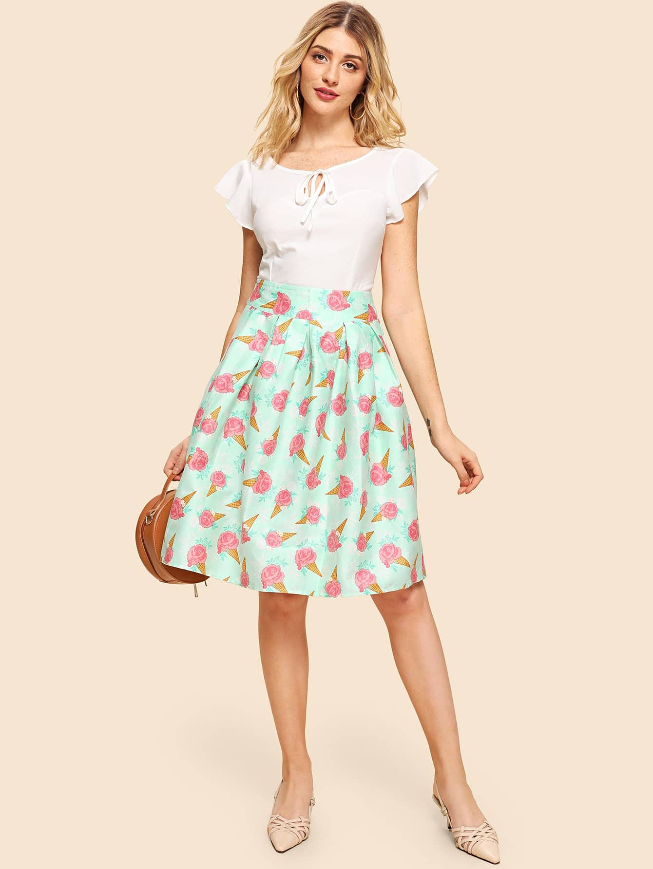 Knot Neck Plain Blouse With Ice Cream Print Box Pleated Skirt plain pleated skirt