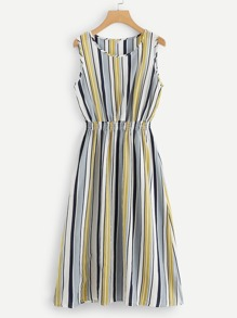 Striped Elastic Waist Dress