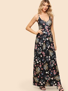 Cross Back Floral Print Cami Dress