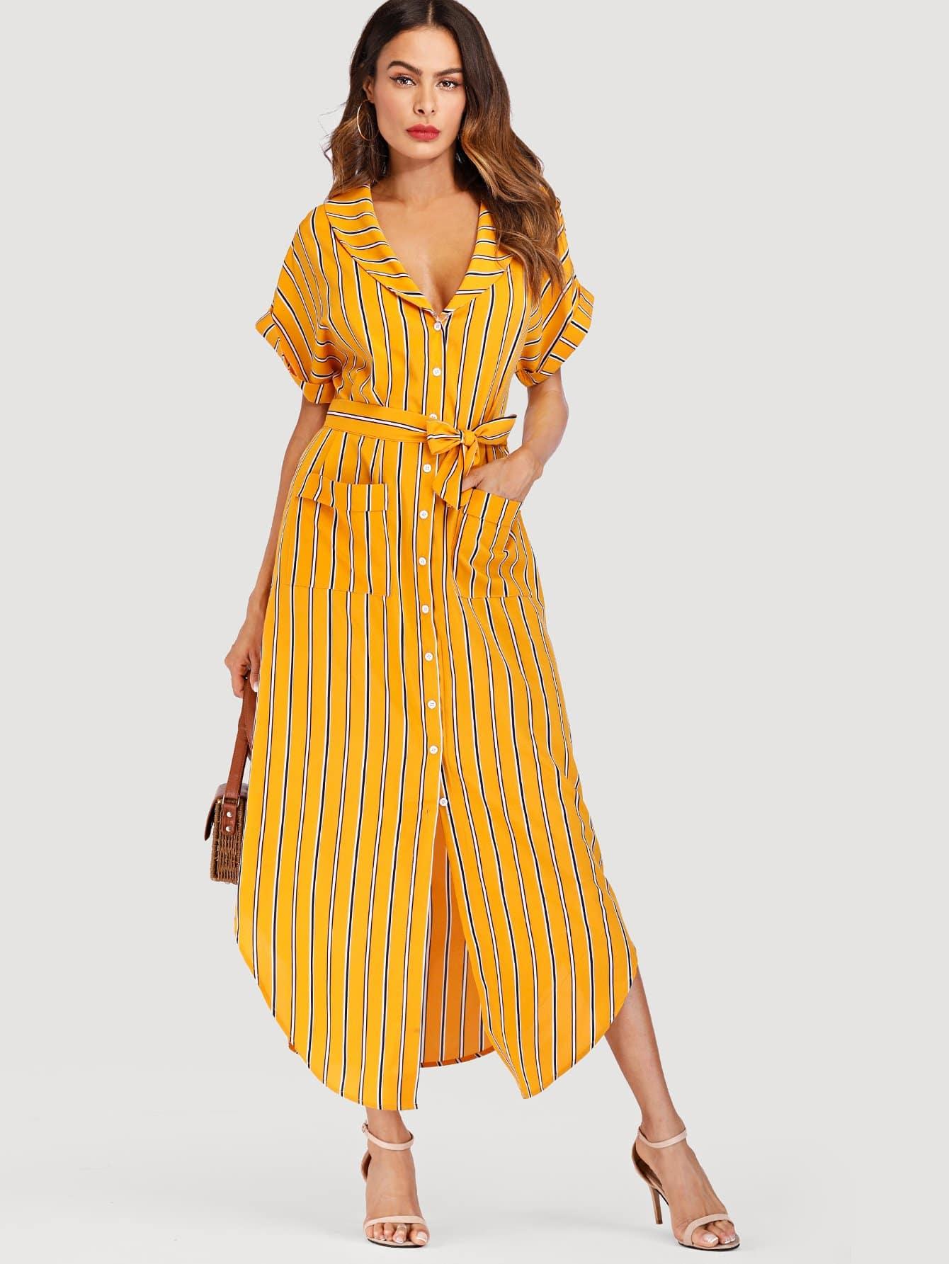 Curved Hem Striped Shirt Dress curved hem striped shirt dress