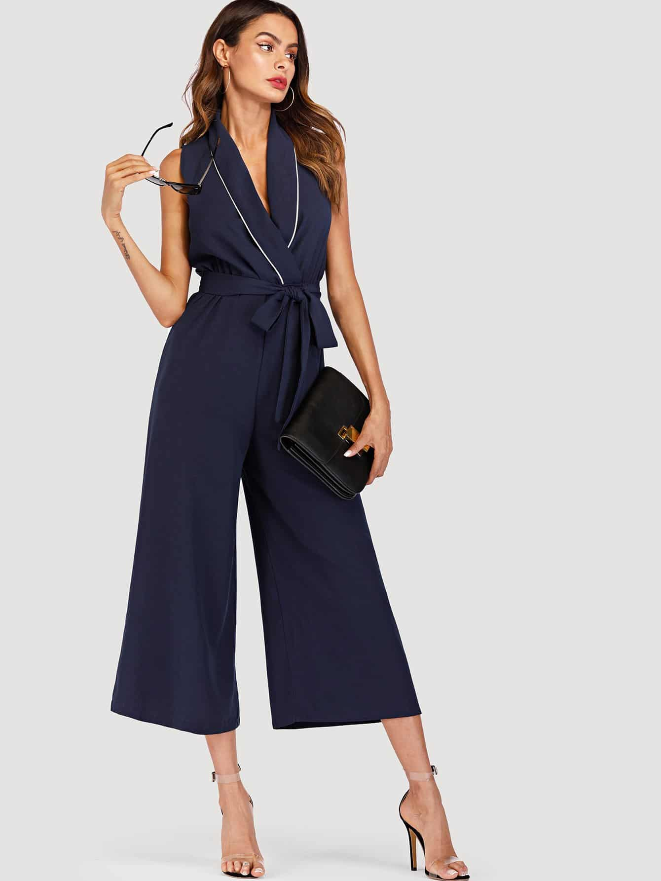 Seam Detail Self Tie Waist Jumpsuit tie waist seam front jeans