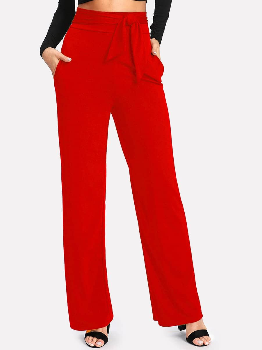 Self Tie High Waist Wide Leg Pants