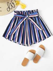 Frill Trim Striped Shorts